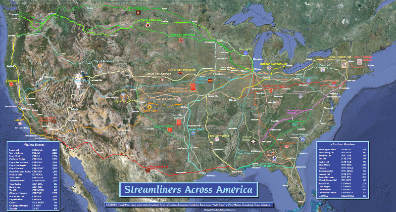 Layered map of Streamliners Across America